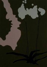 """""""Plant VI"""" 17 x 25 cm acryl en glanslak op papier 2015"""