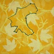 """""""Gele bladeren 20 x 20 cm acryl op doek 2010"""