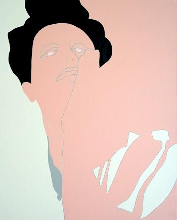 """""""Sabine"""" 80 x 100 cm glanslak en acryl op doek 2015"""