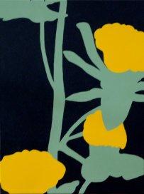 """""""Gele bloem"""" glanslak op doek 30x40cm 2016"""