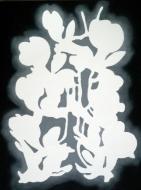 """Witte plant"", acryl en glanslak op doek, 30 x 40cm, 2019"