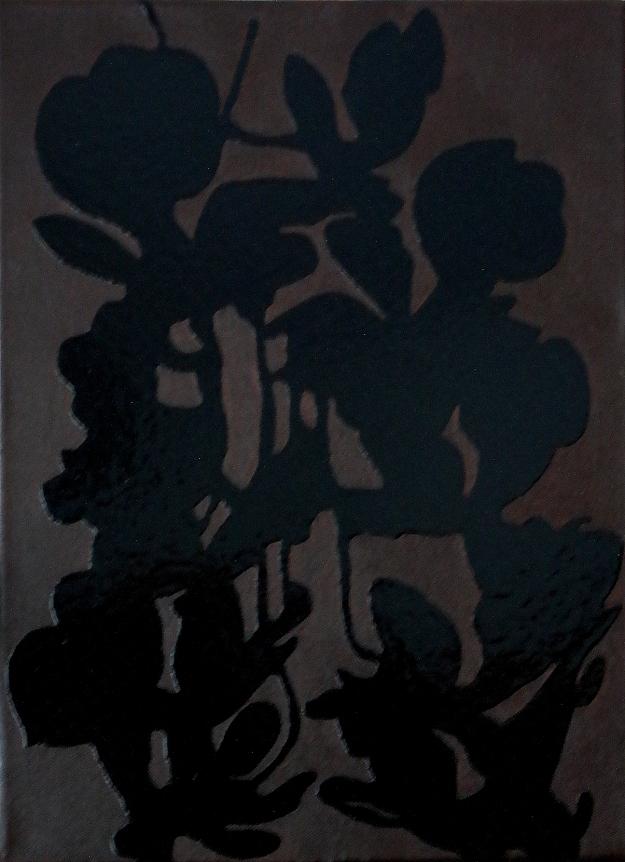 """""""Zwarte plant"""", acryl en glanslak op doek, 30 x 40 cm, 2019"""